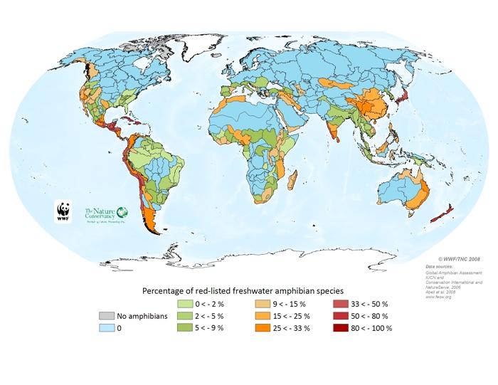 Percentage of threatened freshwater amphibians
