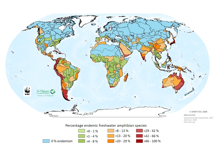 Percentage endemic freshwater amphibian species